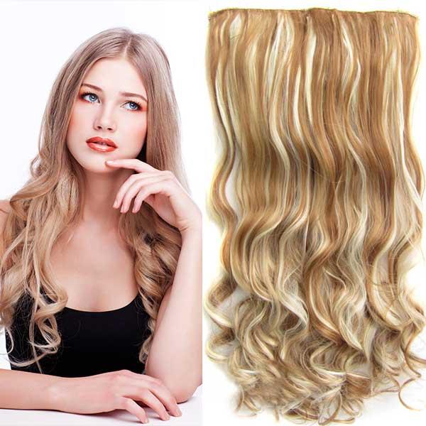 Clip in Jessica - 60 cm vlnitý pás - F613/27 - melír - F613/27 (melír beach blond v karamelové)