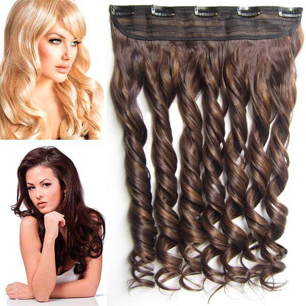 Světové zboží Clip in pás vlasů - lokny 55 cm - odstín F6A/4 - tmavý melír - F6A/4 (melír nugátově hnědé v čokoládově hnědé)