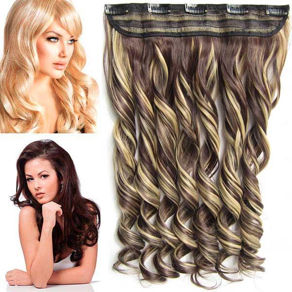 Clip in pás vlasů - lokny 55 cm - odstín F22/4 - tmavý melír - F22/4 (melír světle plavé v čokoládově hnědé)