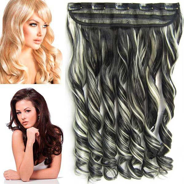 Světové zboží Clip in pás vlasů - lokny 55 cm - odstín F613/1B - melír - F613/1B (melír beach blond v černé)