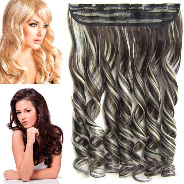 Světové zboží Clip in pás vlasů - lokny 55 cm - odstín F613/6 - melír - F613/6 (melír beach blond ve tmavě plavé)
