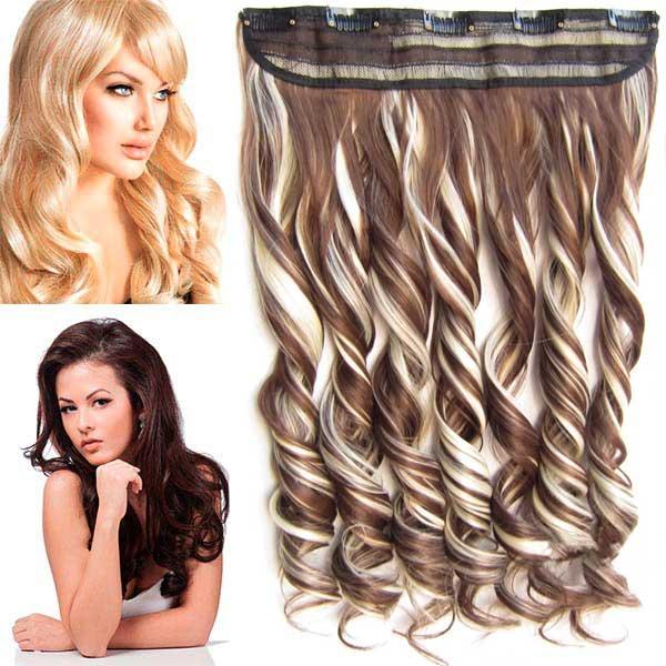 Clip in pás vlasů - lokny 55 cm - odstín F613/8 - melír