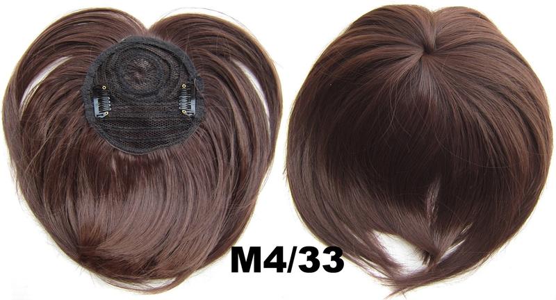 Světové zboží Clip in ofina na vrchol hlavy - M4/33 (mix čokoládově hnědá/tmavý kaštan)