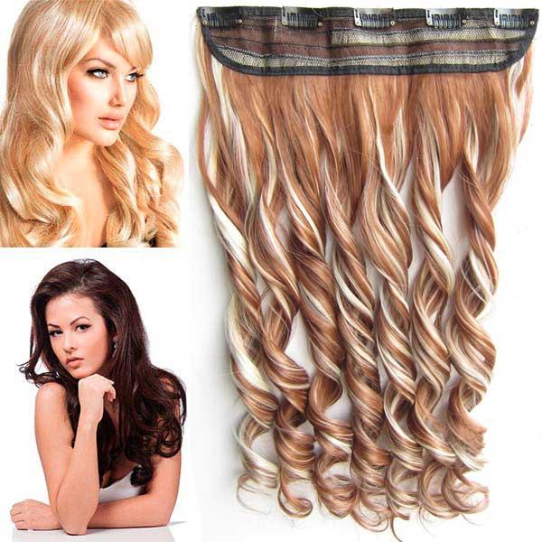 Clip in pás vlasů - vlnité lokny 55 cm - odstín - F613/30 (melír beach blond ve světle kaštanové)