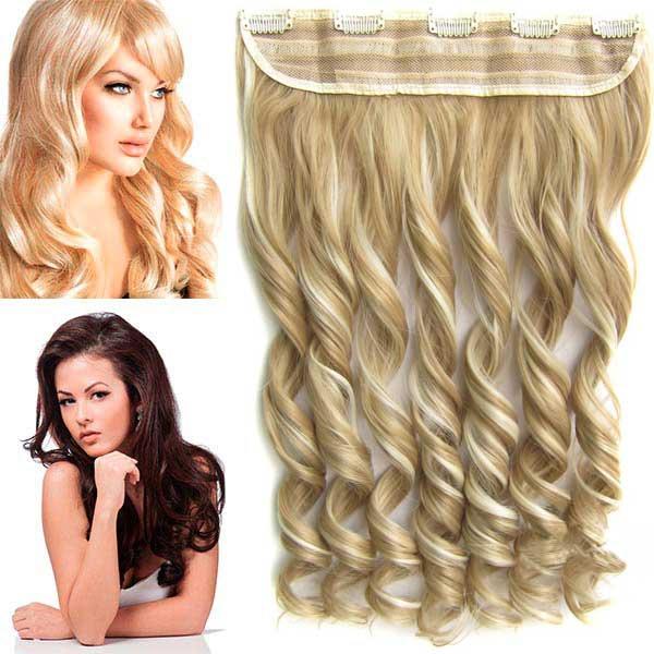 Clip in pás vlasů - vlnité lokny 55 cm - odstín - F613/24 (melír beach blond v platinově plavé)