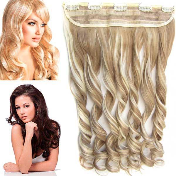 Clip in pás vlasů - vlnité lokny 55 cm - odstín - F613/16 (melír beach blond v pastelově plavé)