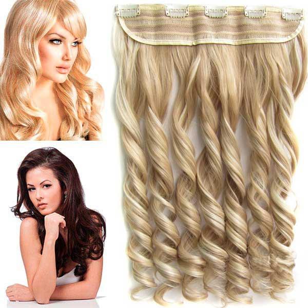 Clip in pás vlasů - vlnité lokny 55 cm - odstín - F613/18 (melír beach blond ve středně plavé)