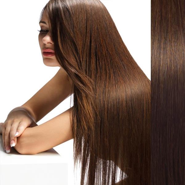 Světové zboží Clip in vlasy 100% lidské – Remy 105 g - pás vlasů - 6 - středně hnědá - 6 (hnědá)