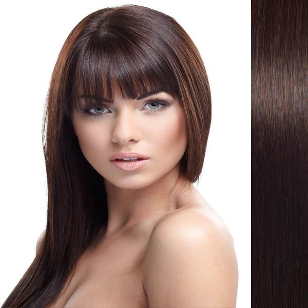 Světové zboží Clip in vlasy 100% lidské – Remy 125 g - pás vlasů - odstín 2 - tmavě hnědá - 2 (tmavě hnědá pralinka)