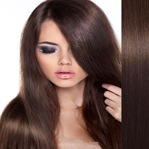 Světové zboží Clip in vlasy 100% lidské – Remy 125 g - pás vlasů - 4 - středně hnědá - 4 (čokoládově hnědá)