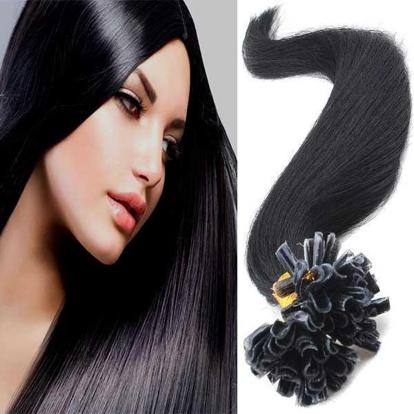 Světové zboží Vlasy na metodu keratin 51 cm, kvalita Remy AAA, sada 100 ks x 0,5 g - 1B - černá - 1B (černá)