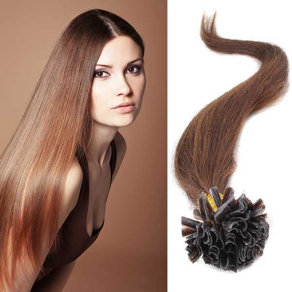 Světové zboží Vlasy na metodu keratin 51 cm, kvalita Remy AAA, sada 100 ks x 0,5 g - 4 - hnědá - 4 (čokoládově hnědá)