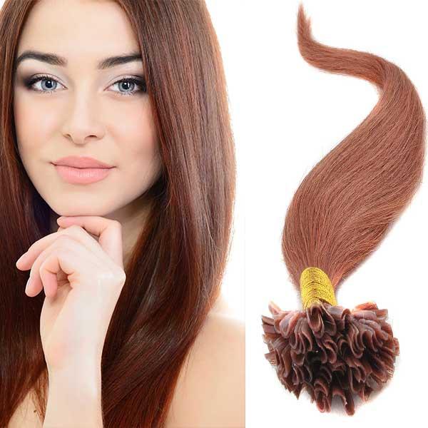 Světové zboží Vlasy na metodu keratin 51 cm, kvalita Remy AAA, sada 100 ks x 0,5 g - 30 - kaštanová - 30 (světlý kaštan)