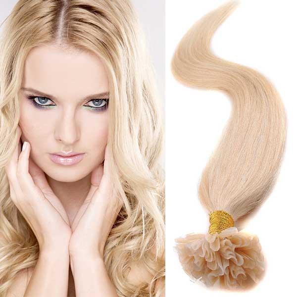 Světové zboží Vlasy na metodu keratin 51 cm, kvalita Remy AAA, sada 100 ks x 0,5 g - 613 - blond - 613 (beach blond)