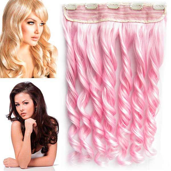 Clip in pás vlasů - vlnité lokny 55 cm - odstín Light Pink