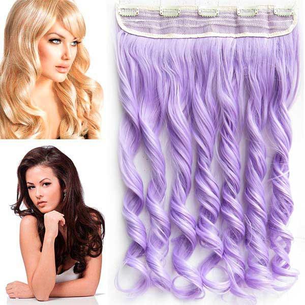 Clip in pás vlasů - vlnité lokny 55 cm - odstín Light Purple
