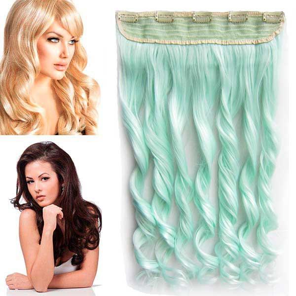 Světové zboží Clip in pás vlasů - lokny 55 cm - mint - odstín MINT