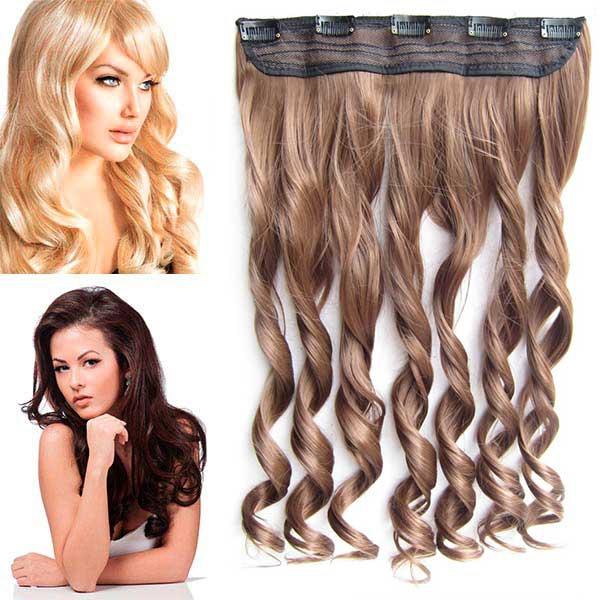 Clip in pás vlasů - vlnité lokny 55 cm - odstín - 6A (nugátově hnědá)