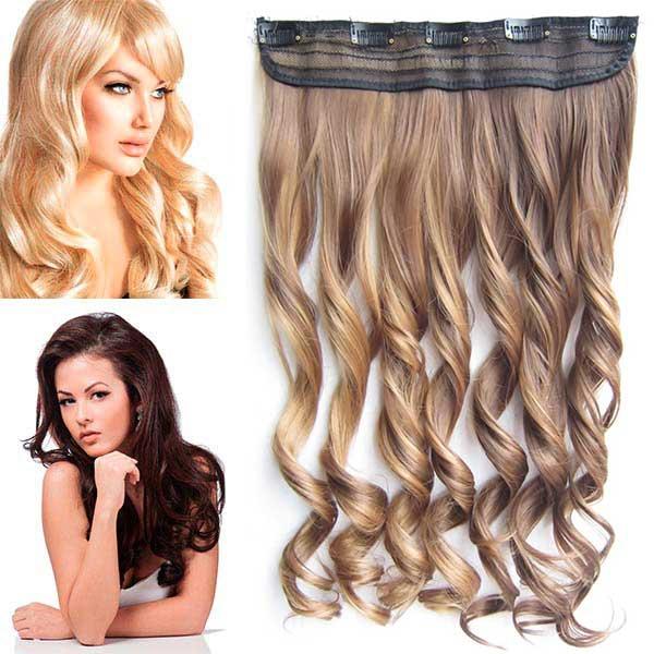 Clip in pás vlasů - vlnité lokny 55 cm - odstín - F6A/27 (melír nugátově hnědé v karamelové)