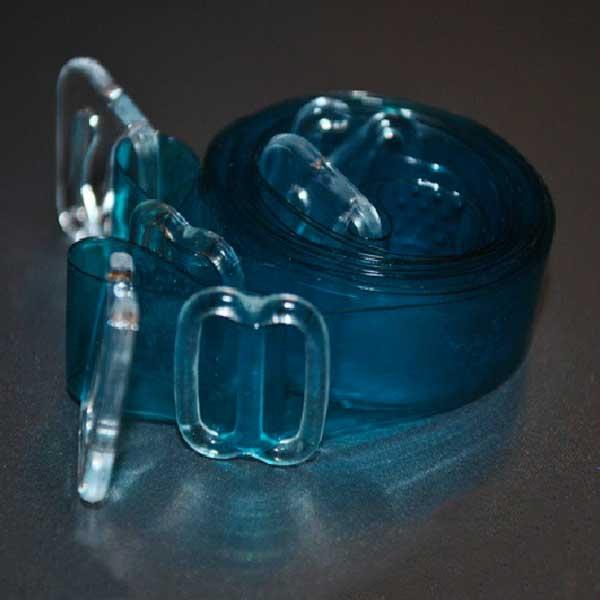 Dámská móda a doplňky - Silikonová ramínka k podprsence - průhledně modrá b6517b8d5a
