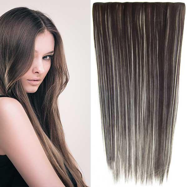 Clip in vlasy - 60 cm dlouhý pás vlasů - odstín - F613/6 (melír beach blond ve tmavě plavé)