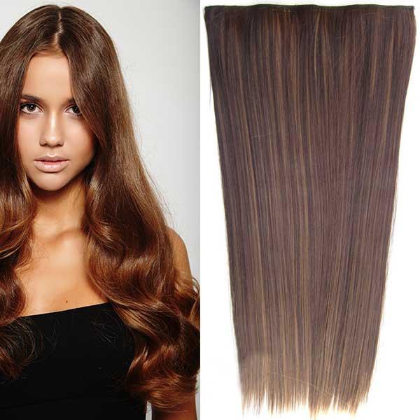 Clip in vlasy - 60 cm dlouhý pás vlasů - odstín - F6A/4 (melír nugátově hnědé v čokoládově hnědé)