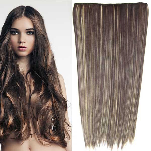 Clip in vlasy - 60 cm dlouhý pás vlasů - odstín - F22/4 (melír světle plavé v čokoládově hnědé)