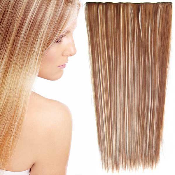 Clip in vlasy - 60 cm dlouhý pás vlasů - odstín - F613/30 (melír beach blond ve světle kaštanové)