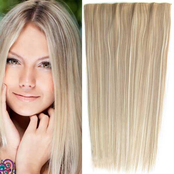 Clip in vlasy - 60 cm dlouhý pás vlasů - odstín - F613/16 (melír beach blond v pastelově plavé)