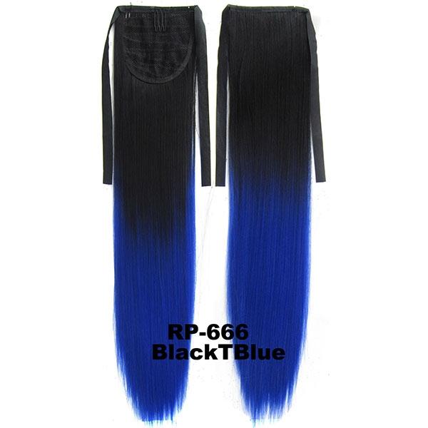 Světové Zboží Culík, cop rovný na zavazování 57 cm - ombre styl (odstín Black T Blue)