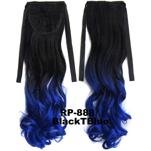 Světové Zboží Culík, cop vlnitý na zavazování 57 cm - ombre styl (odstín Black T Blue)