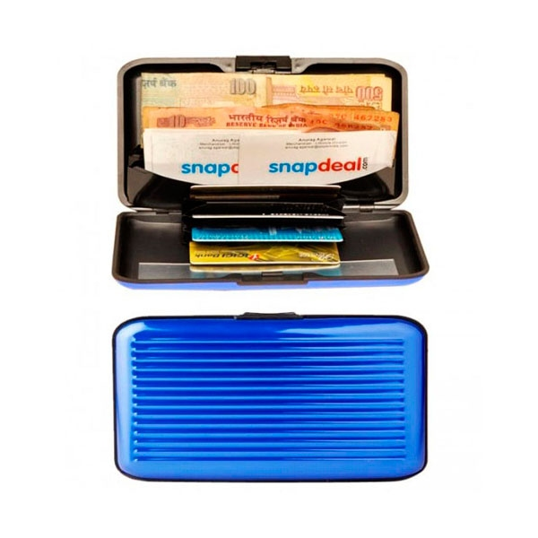 Velké pouzdro na doklady a platební karty Aluma Wallet - modrá barva
