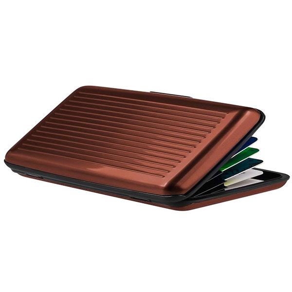 Velké pouzdro na doklady a platební karty Aluma Wallet - hnědá barva