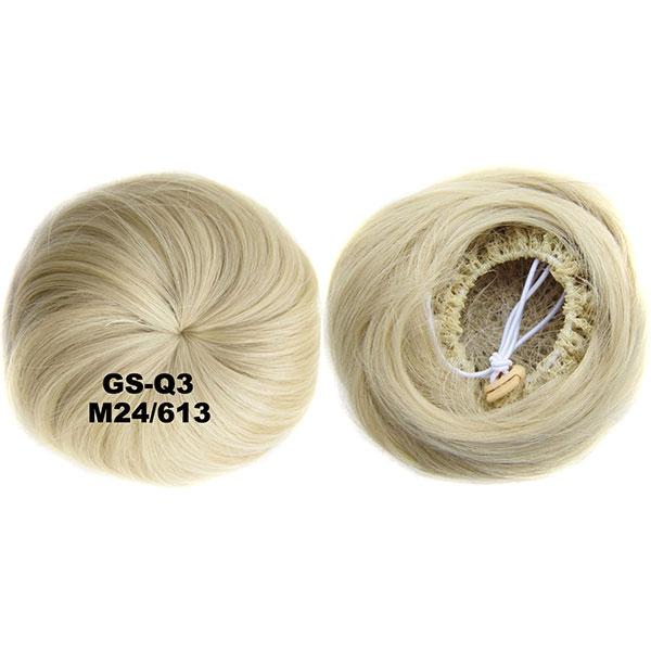 Příčesek - drdol k nasazení - hladký - M24/613 (mix platinově plavá/beach blond)