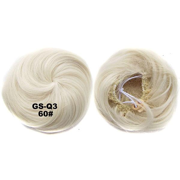 Příčesek - drdol k nasazení - hladký - 60 (ledová blond)