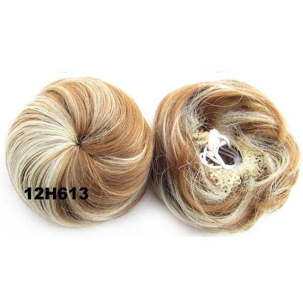 Příčesek - drdol k nasazení - hladký - 12H613 (melír karamelově hnědé a beach blond)