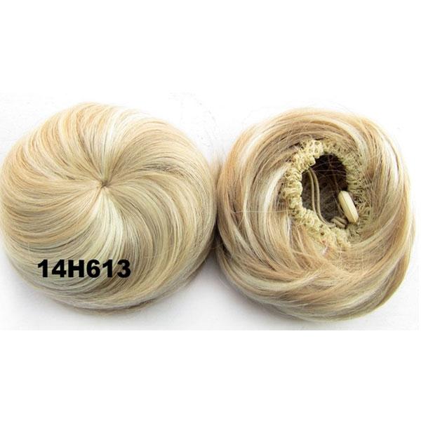 Příčesek - drdol k nasazení - hladký - 14H613 (melír chladně plavé a beach blond)