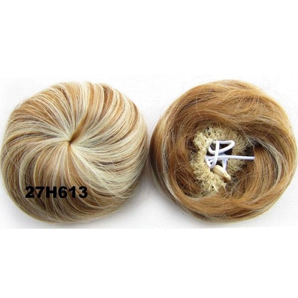Příčesek - drdol k nasazení - hladký - 27H613 (melír karamelové a beach blond)