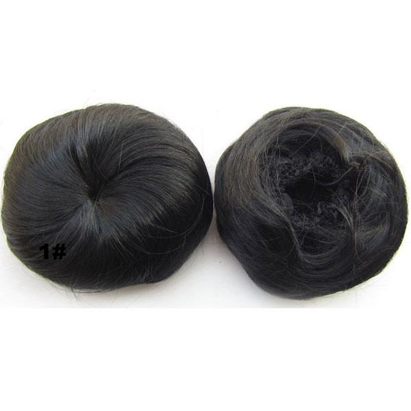 Příčesek - drdol k nasazení - hladký - 1B (černá)