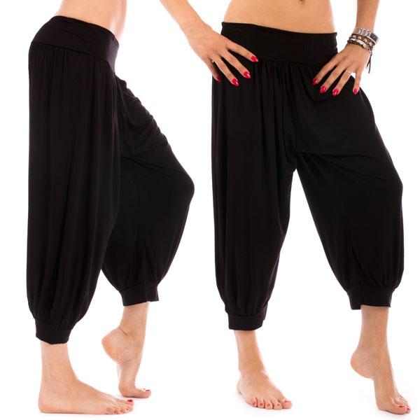 Černé harémové 3/4 kalhoty