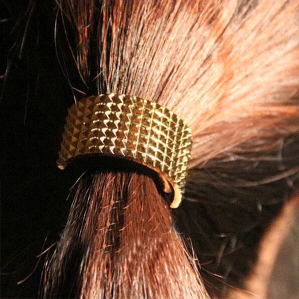 V&V Spona pro tvorbu copu - kovový půlměsíc - zlatá barva
