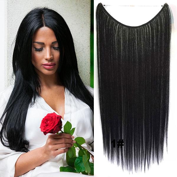 Flip in vlasy - 55 cm dlouhý pás vlasů - odstín 1#