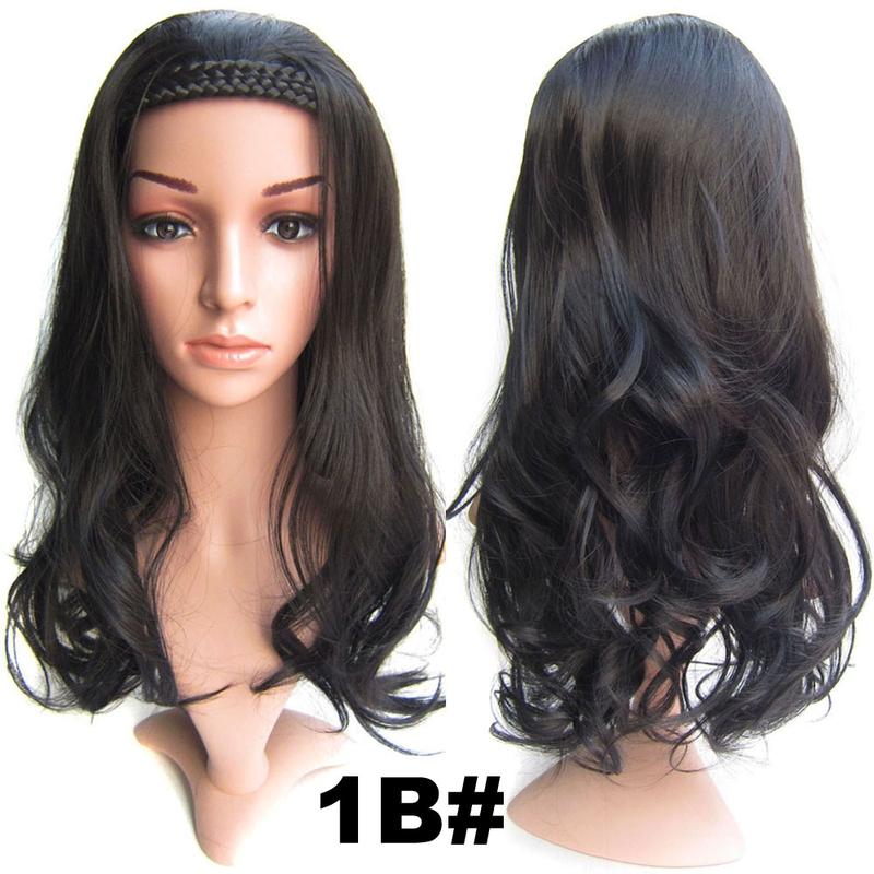 Poloparuka - 3/4 paruka s čelenkou z pletených vlasů - 1B (černá)