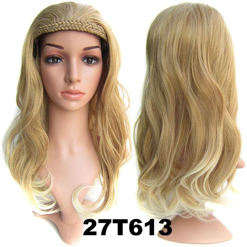 Poloparuka - 3/4 paruka s čelenkou z pletených vlasů - odstín 27 T 613