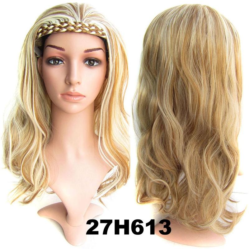 Poloparuka - 3/4 paruka s čelenkou z pletených vlasů - 27H613 (melír karamelové a beach blond)