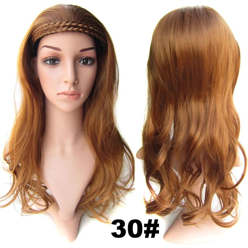Poloparuka - 3/4 paruka s čelenkou z pletených vlasů - 30 (světlý kaštan)