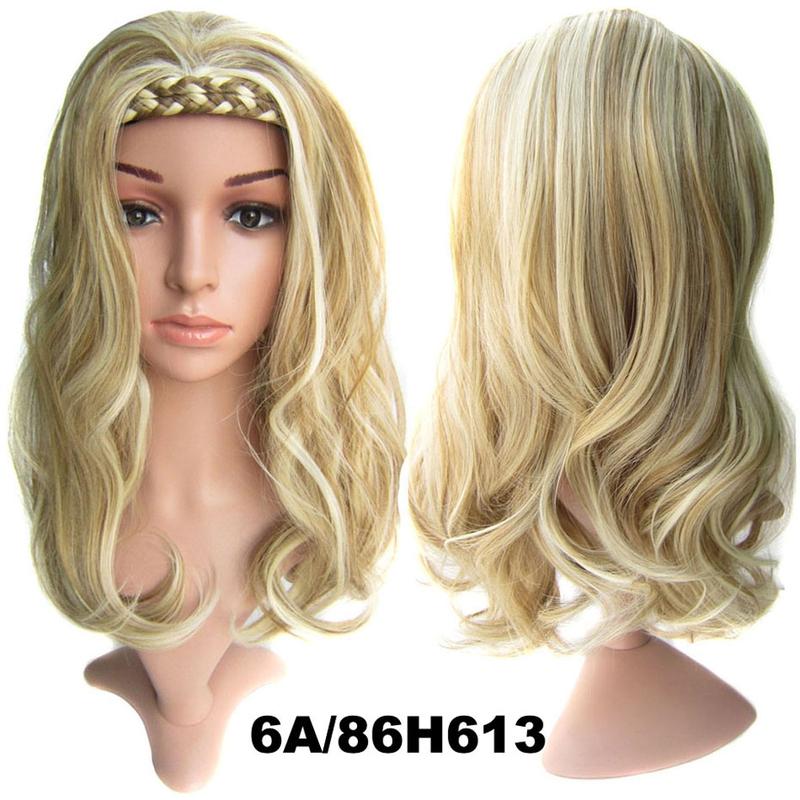 Poloparuka - 3/4 paruka s čelenkou z pletených vlasů - 6/86H613 (melír plavých odstínů v beach blond)
