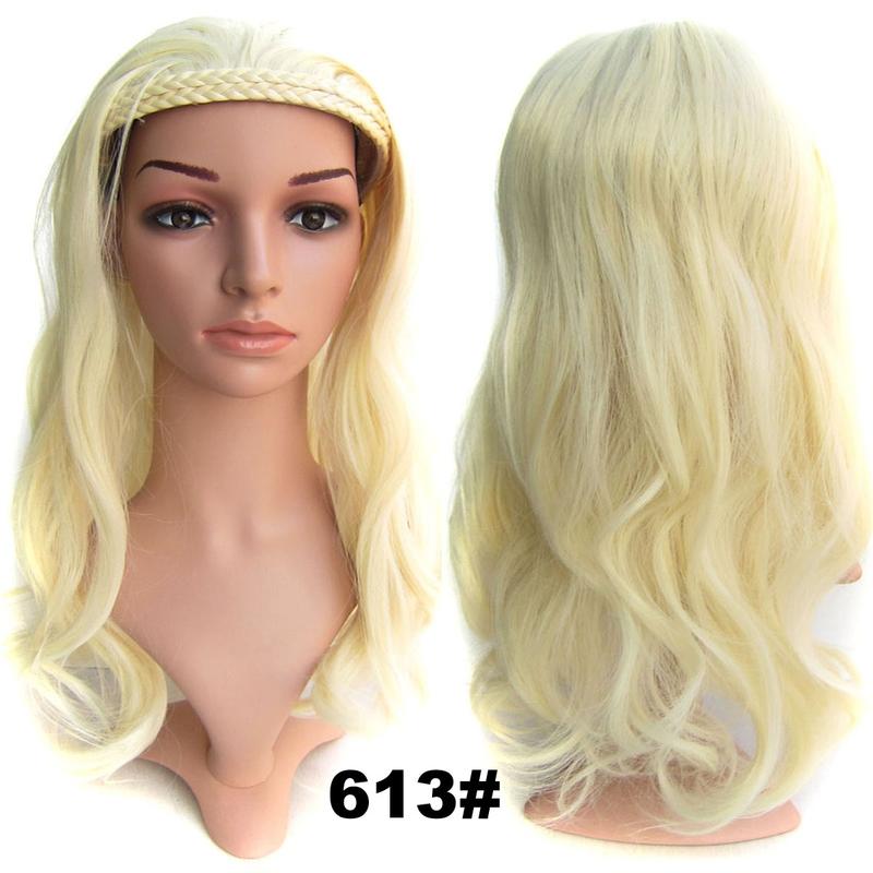 Poloparuka - 3/4 paruka s čelenkou z pletených vlasů - 613 (beach blond)