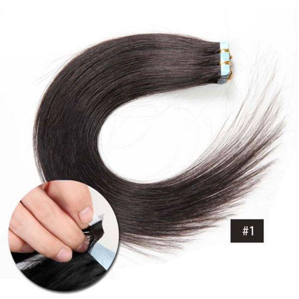 Vlasy k prodloužení TAPE IN - délka 40 cm, odstín 1# - přírodní černá