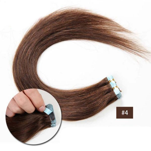 Vlasy k prodloužení TAPE IN - délka 40 cm, odstín 4 - tmavě hnědá